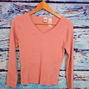 Emma James Long Sleeved Ribbed Sweater L